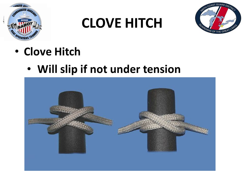CLOVE HITCH Clove Hitch Will slip if not under tension Finish with Half Hitch