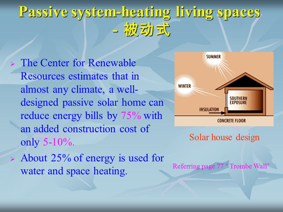 Passive system-heating living spaces -被动式   The Center for Renewable Resources estimates that in almost any climate, a well- designed passive solar