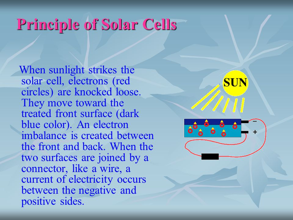 Principle of Solar Cells When sunlight strikes the solar cell, electrons (red circles) are knocked loose. They move toward the treated front surface (