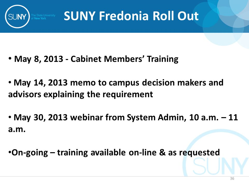 36 SUNY Fredonia Roll Out May 8, 2013 - Cabinet Members' Training May 14, 2013 memo to campus decision makers and advisors explaining the requirement