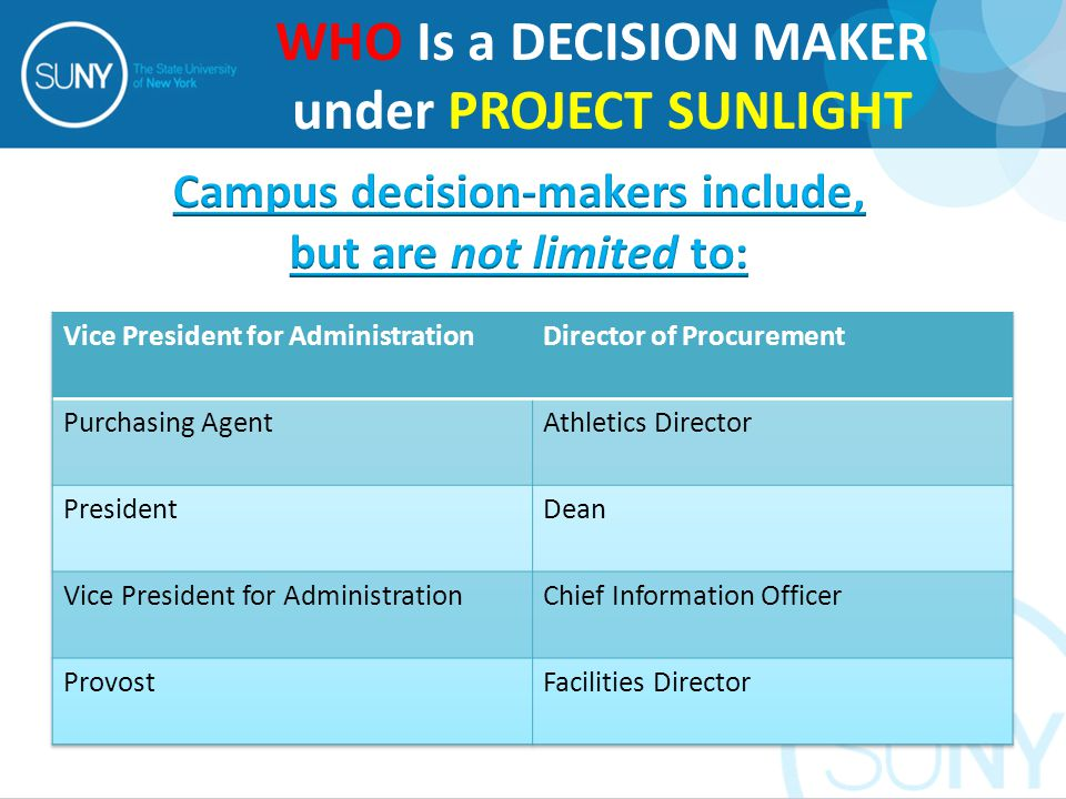 WHO Is a DECISION MAKER under PROJECT SUNLIGHT