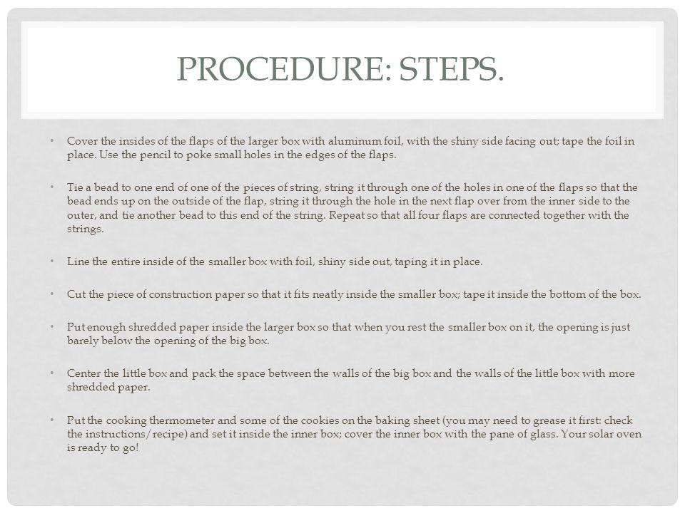 PROCEDURE: STEPS CONTINUATION.
