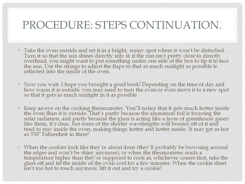 PROCEDURE: STEPS CONTINUATION.