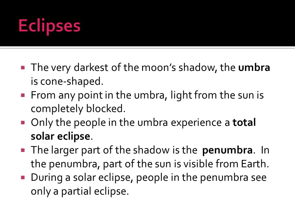  The very darkest of the moon's shadow, the umbra is cone-shaped.  From any point in the umbra, light from the sun is completely blocked.  Only the