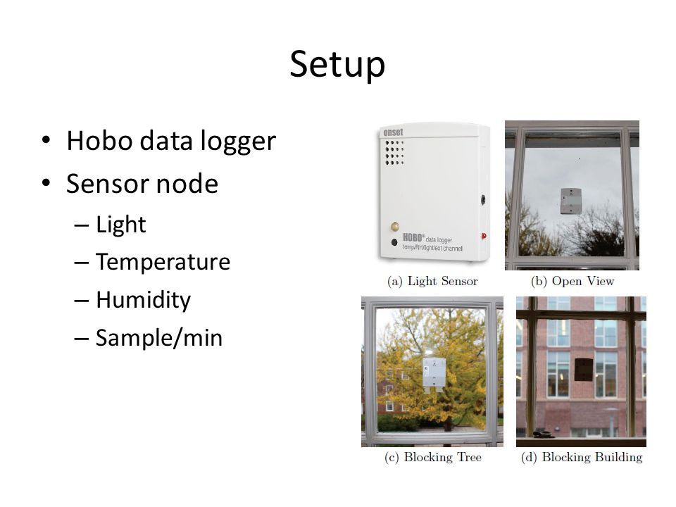 Setup Hobo data logger Sensor node – Light – Temperature – Humidity – Sample/min