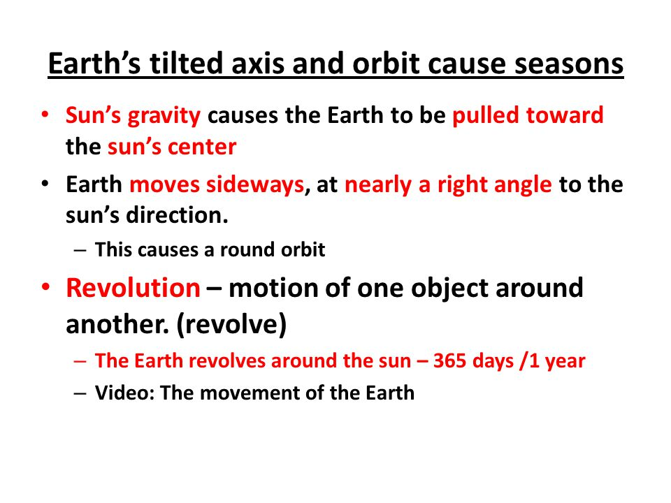 Earth is tilted on it's axis at a 23.5 degree angle Earth's axis is always tilted the same direction in space.