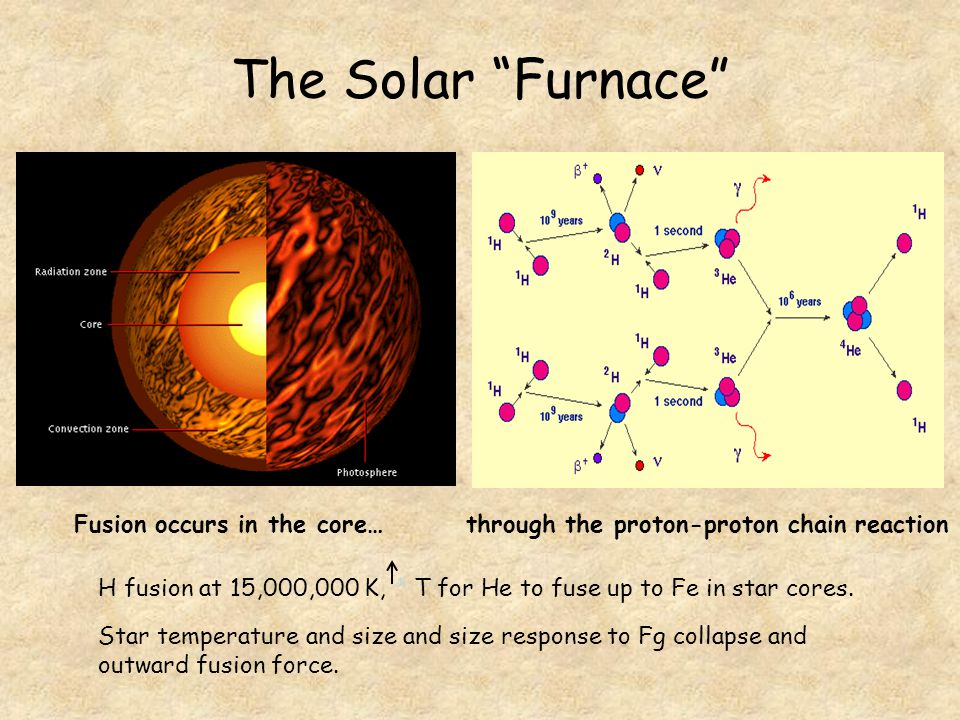 The Solar Furnace Fusion occurs in the core…through the proton-proton chain reaction Star temperature and size and size response to Fg collapse and outward fusion force.