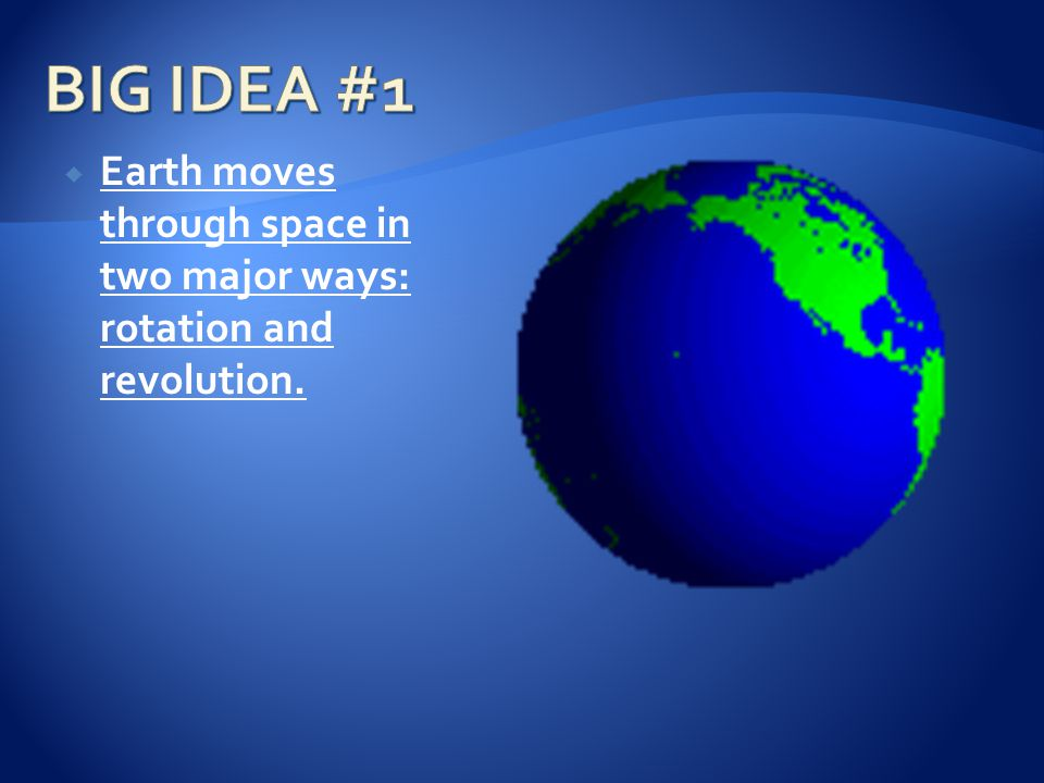  Earth moves through space in two major ways: rotation and revolution.