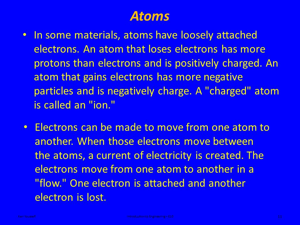 Atoms Ken YoussefiIntroduction to Engineering – E10 11 In some materials, atoms have loosely attached electrons.