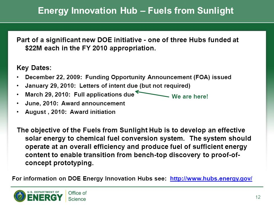 Part of a significant new DOE initiative - one of three Hubs funded at $22M each in the FY 2010 appropriation.