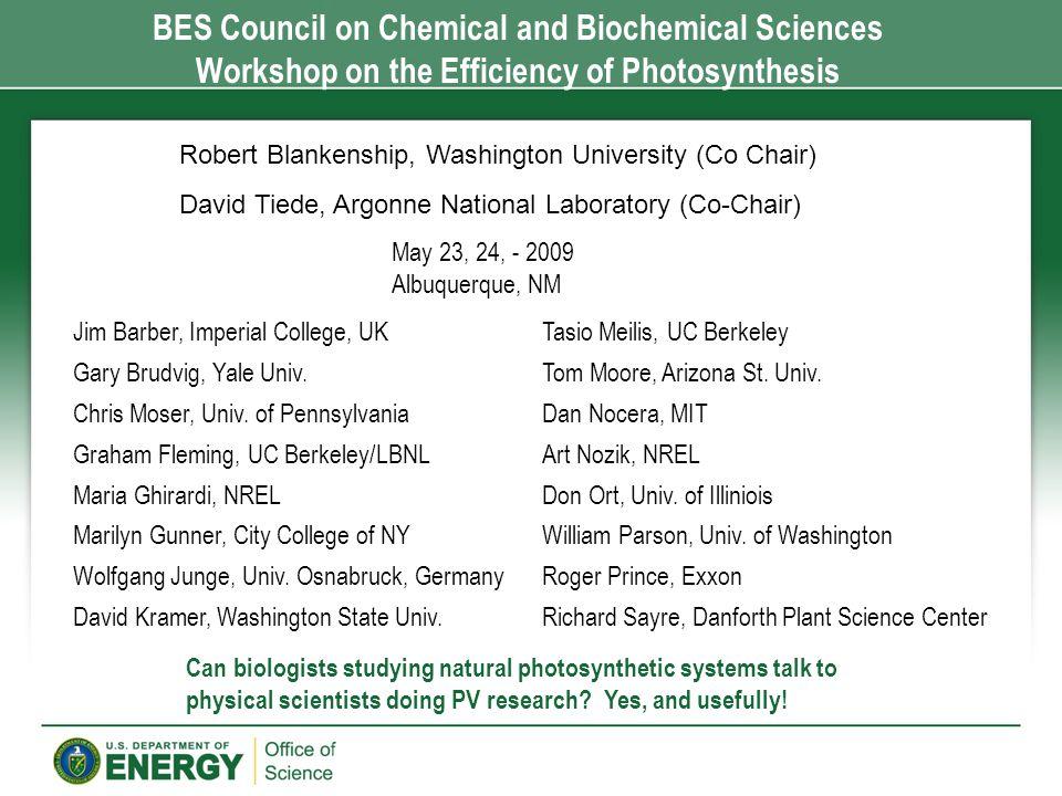 Jim Barber, Imperial College, UK Gary Brudvig, Yale Univ. Chris Moser, Univ. of Pennsylvania Graham Fleming, UC Berkeley/LBNL Maria Ghirardi, NREL Mar
