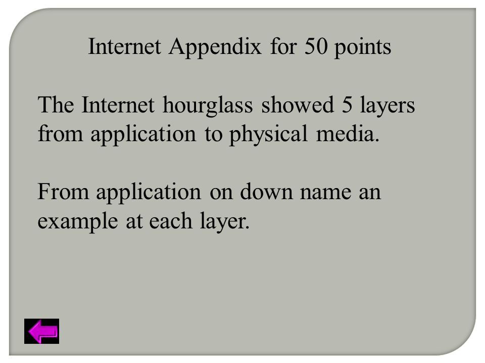 Internet Appendix for 50 points The Internet hourglass showed 5 layers from application to physical media.