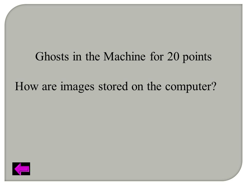 Ghosts in the Machine for 20 points How are images stored on the computer