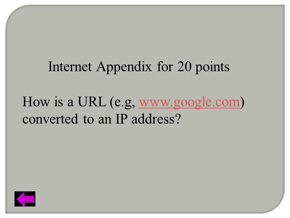 Internet Appendix for 20 points How is a URL (e.g, www.google.com) converted to an IP address?www.google.com