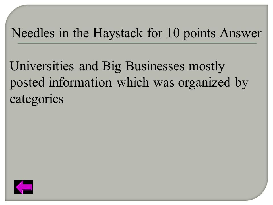 Needles in the Haystack for 10 points Answer Universities and Big Businesses mostly posted information which was organized by categories