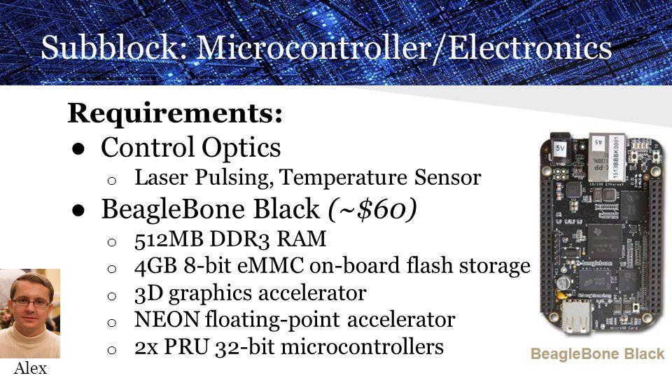 Subblock: Microcontroller/Electronics Requirements: ● Control Optics o Laser Pulsing, Temperature Sensor ● BeagleBone Black (~$60) o 512MB DDR3 RAM o 4GB 8-bit eMMC on-board flash storage o 3D graphics accelerator o NEON floating-point accelerator o 2x PRU 32-bit microcontrollers Alex
