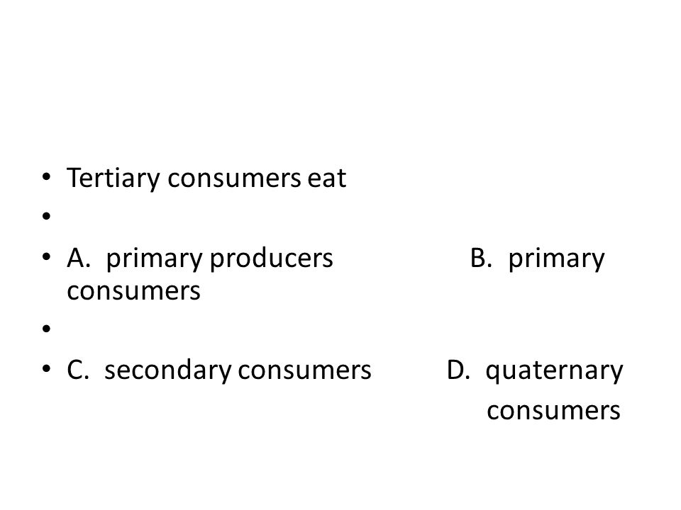 Tertiary consumers eat A. primary producers B. primary consumers C. secondary consumers D. quaternary consumers