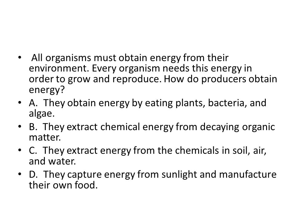 All organisms must obtain energy from their environment.