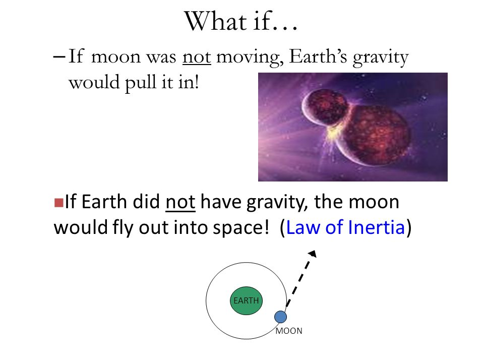 What if… – If moon was not moving, Earth's gravity would pull it in.
