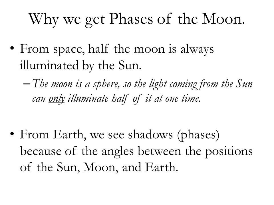 Why we get Phases of the Moon.From space, half the moon is always illuminated by the Sun.