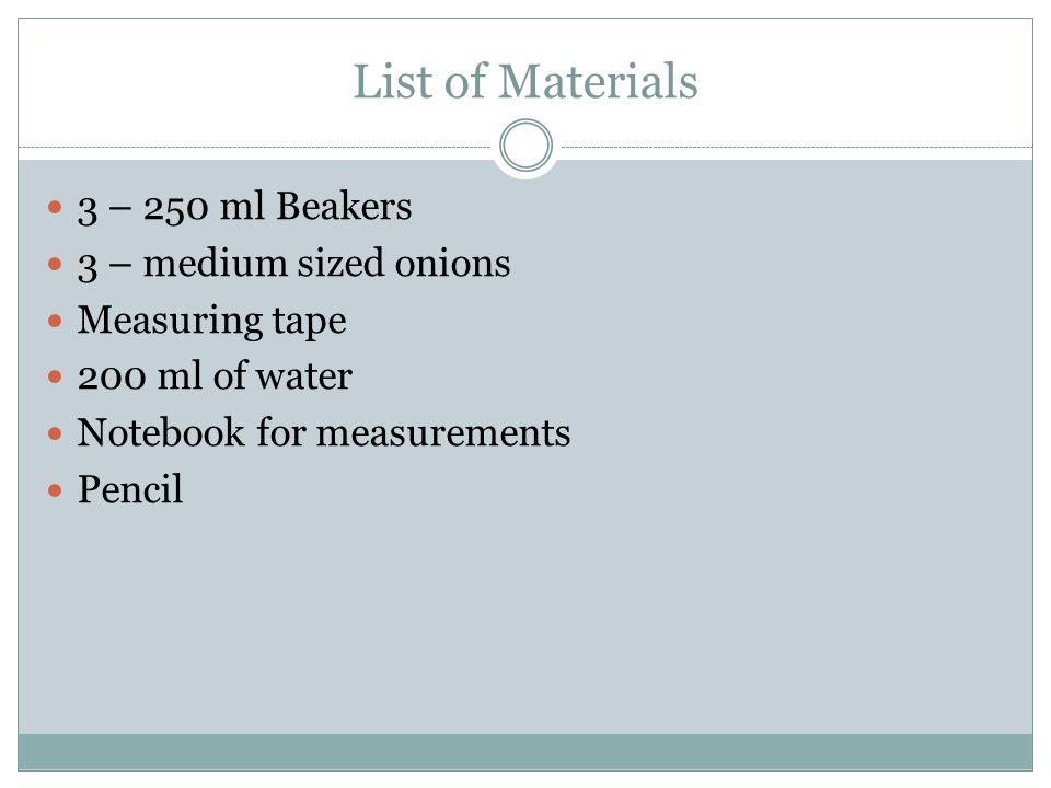 Procedures 1.Prepare a notebook for measurements.