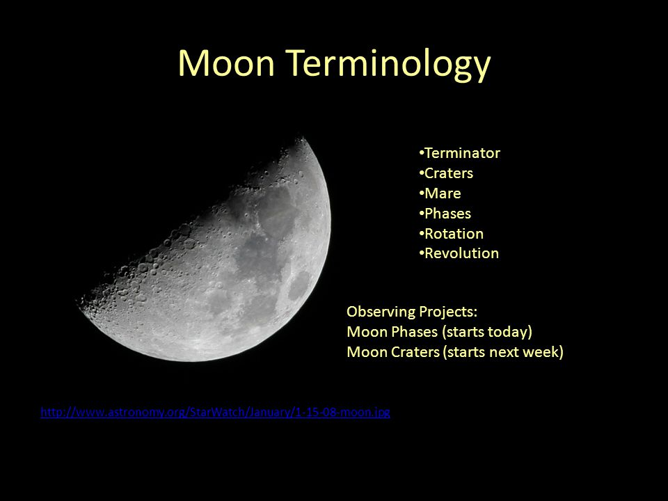 Moon Phases What we see from Earth… New Waxing Crescent First Quarter Waxing Gibbous Full Waning Gibbous Last Quarter Waning Crescent