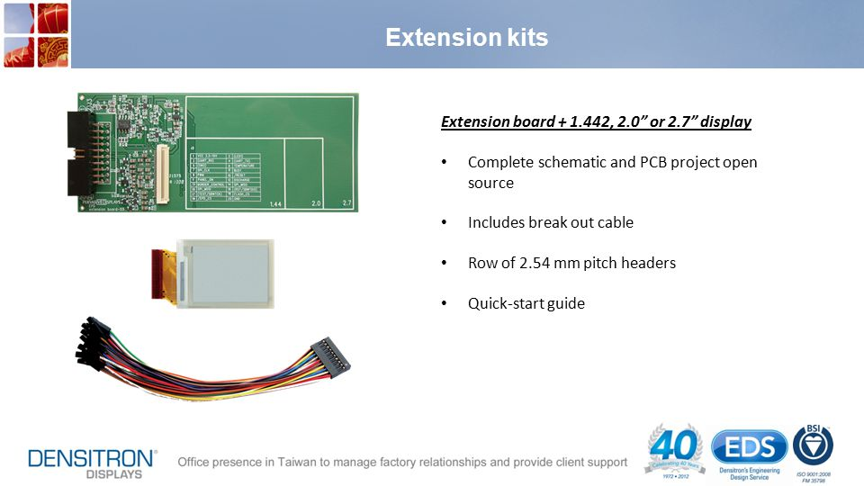 Extension kits Extension board + 1.442, 2.0 or 2.7 display Complete schematic and PCB project open source Includes break out cable Row of 2.54 mm pitch headers Quick-start guide