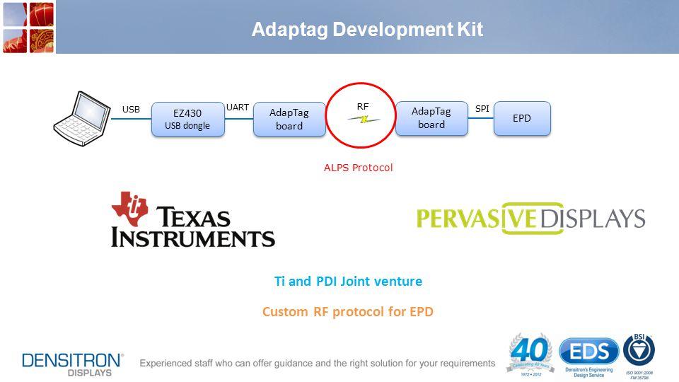 Adaptag Development Kit Ti and PDI Joint venture Custom RF protocol for EPD USB UART EZ430 USB dongle EZ430 USB dongle AdapTag board AdapTag board Ada