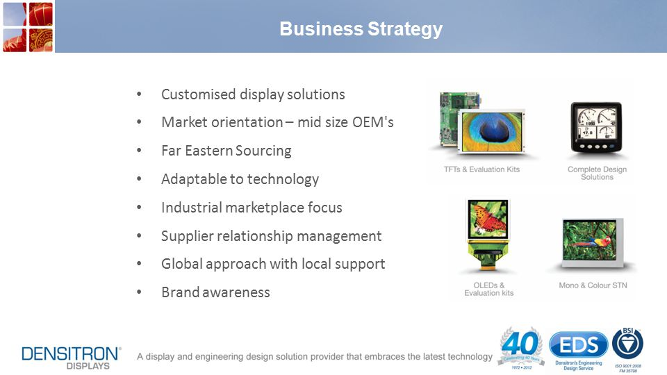 Business Strategy Customised display solutions Market orientation – mid size OEM s Far Eastern Sourcing Adaptable to technology Industrial marketplace focus Supplier relationship management Global approach with local support Brand awareness