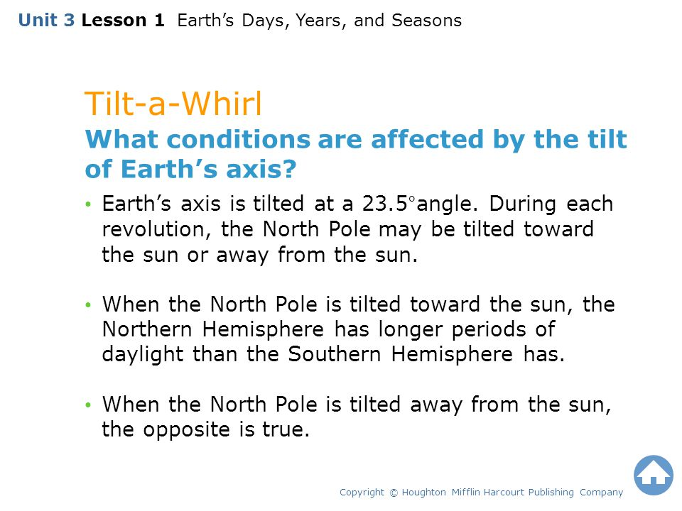 Tilt-a-Whirl Copyright © Houghton Mifflin Harcourt Publishing Company What conditions are affected by the tilt of Earth's axis? Earth's axis is tilted