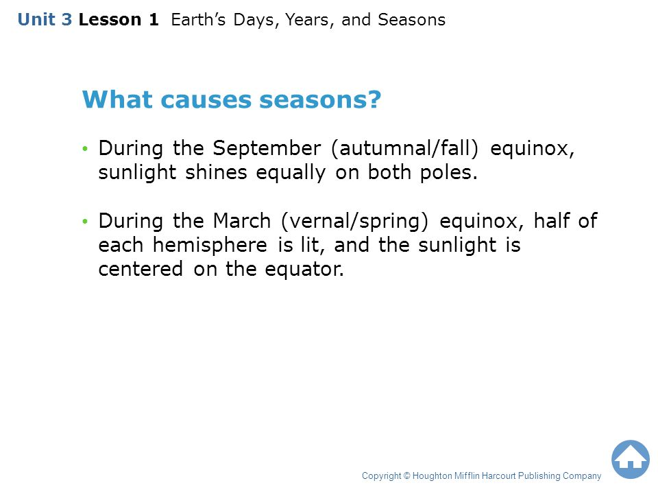 What causes seasons? During the September (autumnal/fall) equinox, sunlight shines equally on both poles. During the March (vernal/spring) equinox, ha