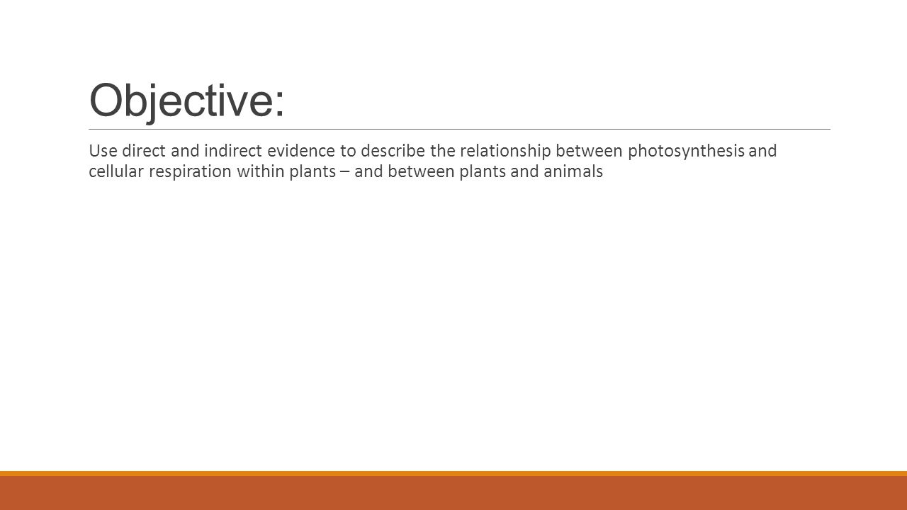 Objective: Use direct and indirect evidence to describe the relationship between photosynthesis and cellular respiration within plants – and between plants and animals