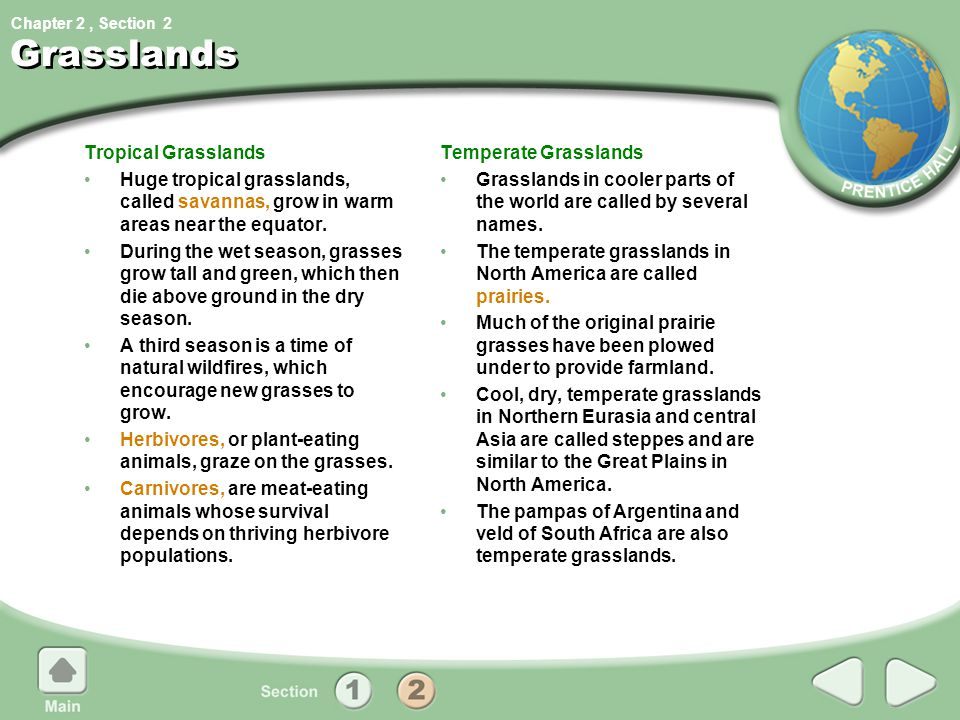 Chapter 2, Section Grasslands Tropical Grasslands Huge tropical grasslands, called savannas, grow in warm areas near the equator. During the wet seaso