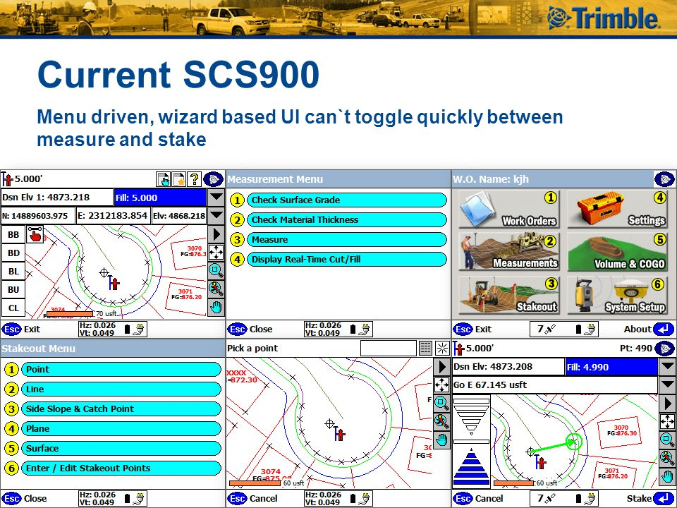 Current SCS900 Menu driven, wizard based UI can`t toggle quickly between measure and stake