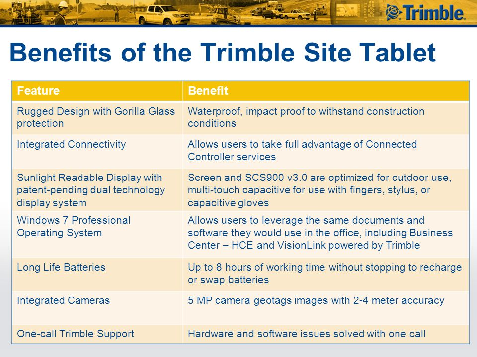 Benefits of the Trimble Site Tablet FeatureBenefit Rugged Design with Gorilla Glass protection Waterproof, impact proof to withstand construction cond