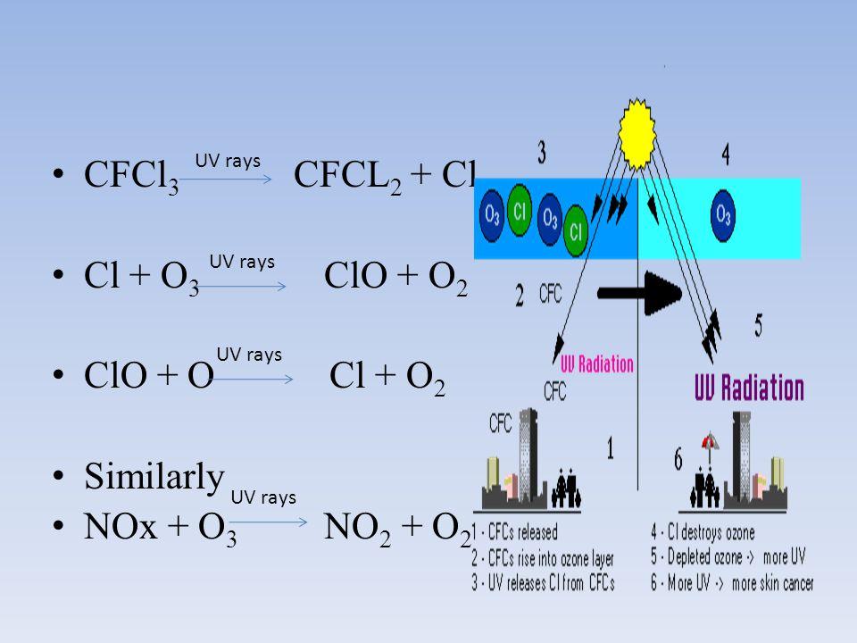 CFCl 3 CFCL 2 + Cl Cl + O 3 ClO + O 2 ClO + O Cl + O 2 Similarly NOx + O 3 NO 2 + O 2 UV rays