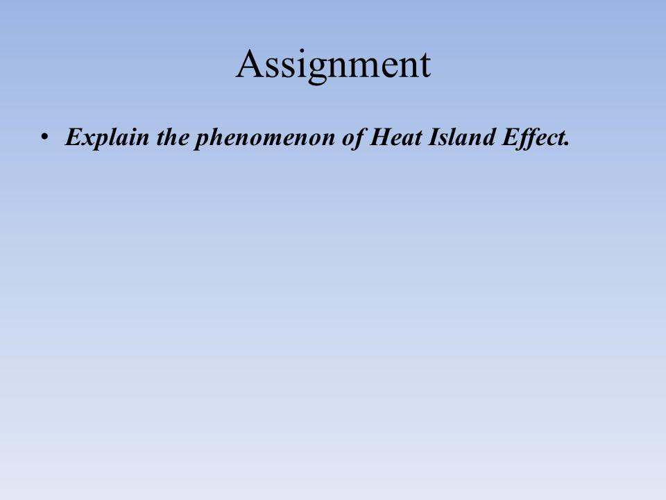 Assignment Explain the phenomenon of Heat Island Effect.
