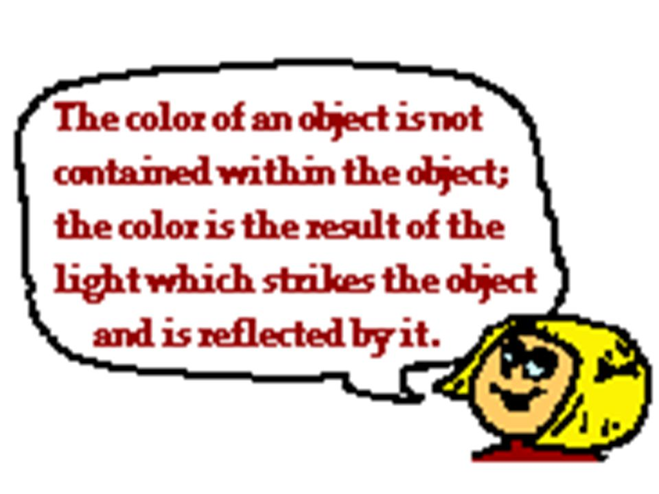 Three factors determine the colors we see 1. the color of the light that shines on the object 2.