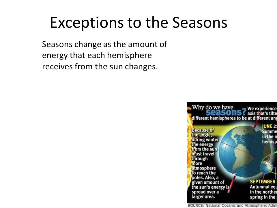 Exceptions to the Seasons Seasons change as the amount of energy that each hemisphere receives from the sun changes.