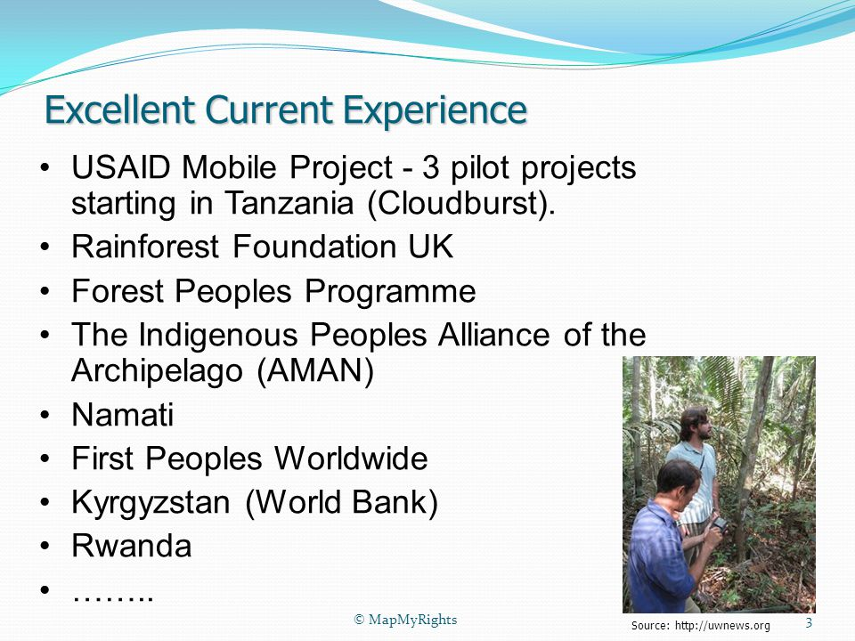 Excellent Current Experience USAID Mobile Project - 3 pilot projects starting in Tanzania (Cloudburst).