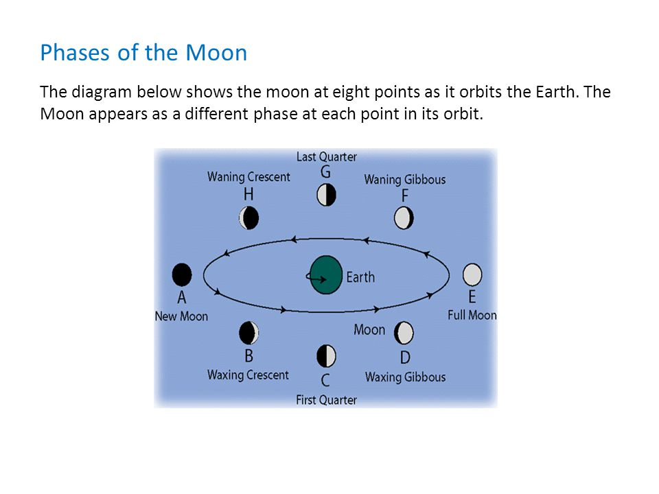 The diagram below shows the moon at eight points as it orbits the Earth.