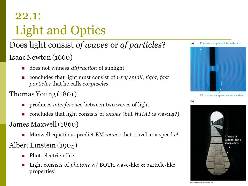 Does light consist of waves or of particles? Isaac Newton (1660) does not witness diffraction of sunlight. concludes that light must consist of very s