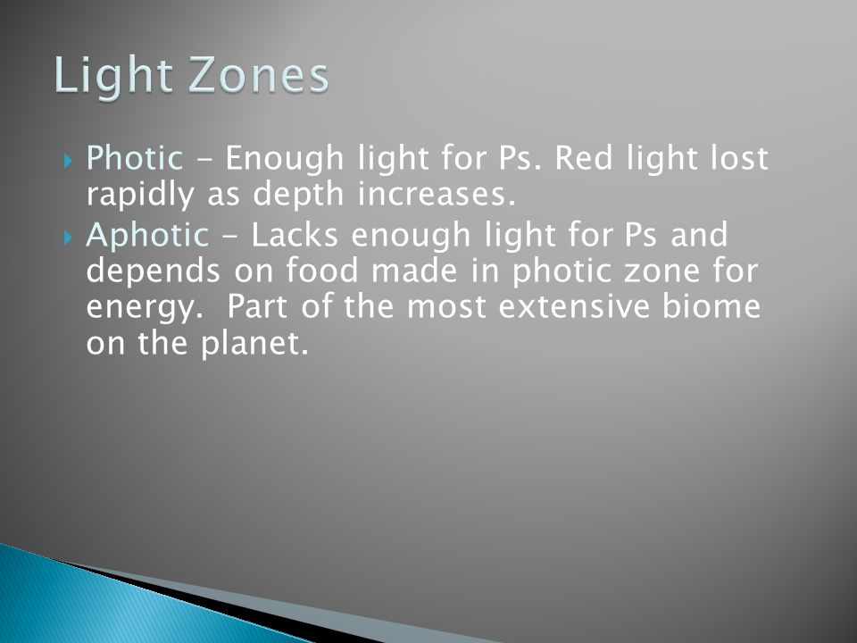  Photic - Enough light for Ps. Red light lost rapidly as depth increases.  Aphotic - Lacks enough light for Ps and depends on food made in photic zo