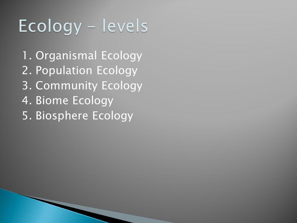 1. Organismal Ecology 2. Population Ecology 3. Community Ecology 4. Biome Ecology 5. Biosphere Ecology