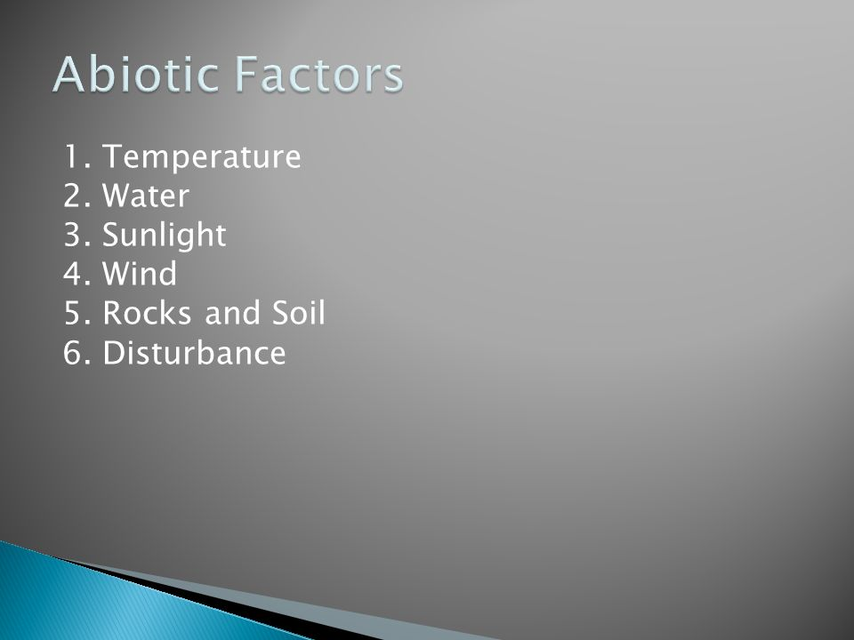 1. Temperature 2. Water 3. Sunlight 4. Wind 5. Rocks and Soil 6. Disturbance