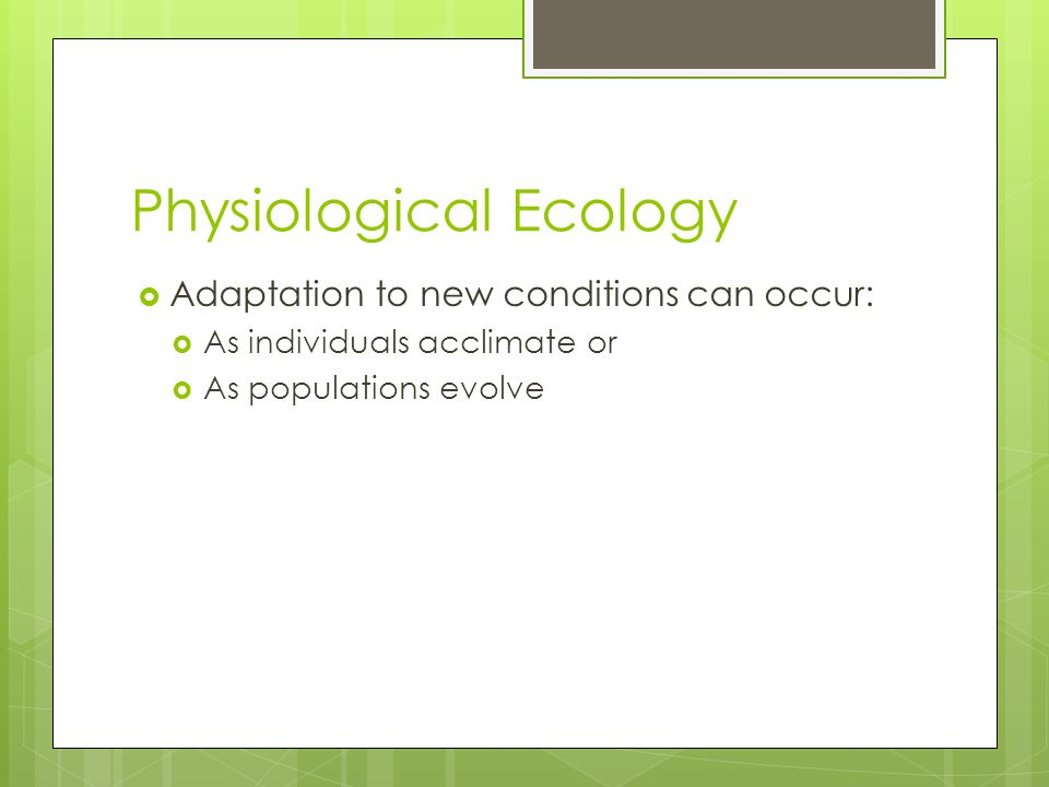 Physiological Ecology  Adaptation to new conditions can occur:  As individuals acclimate or  As populations evolve