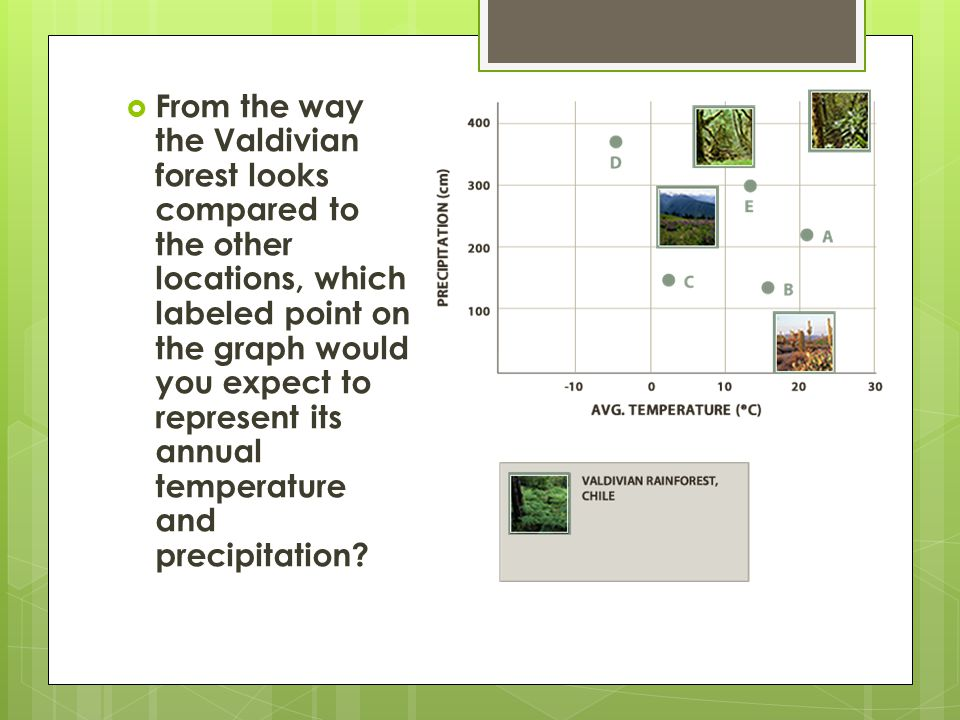  From the way the Valdivian forest looks compared to the other locations, which labeled point on the graph would you expect to represent its annual temperature and precipitation