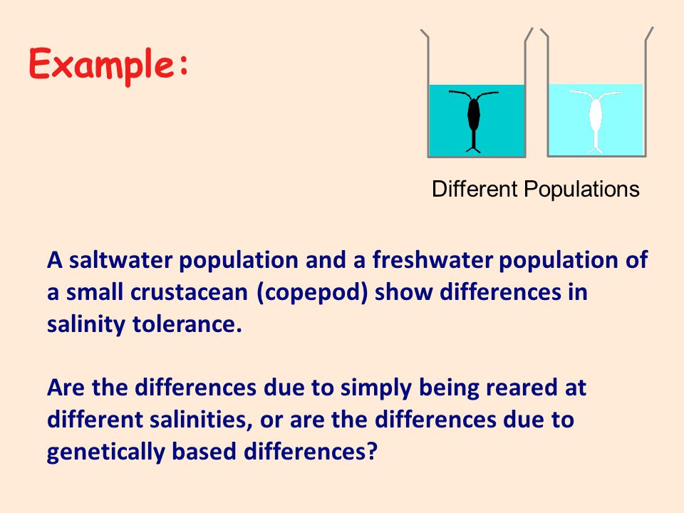 Different Populations A saltwater population and a freshwater population of a small crustacean (copepod) show differences in salinity tolerance.