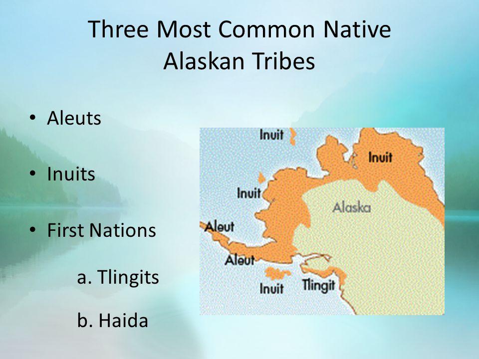 Three Most Common Native Alaskan Tribes Aleuts Inuits First Nations a. Tlingits b. Haida