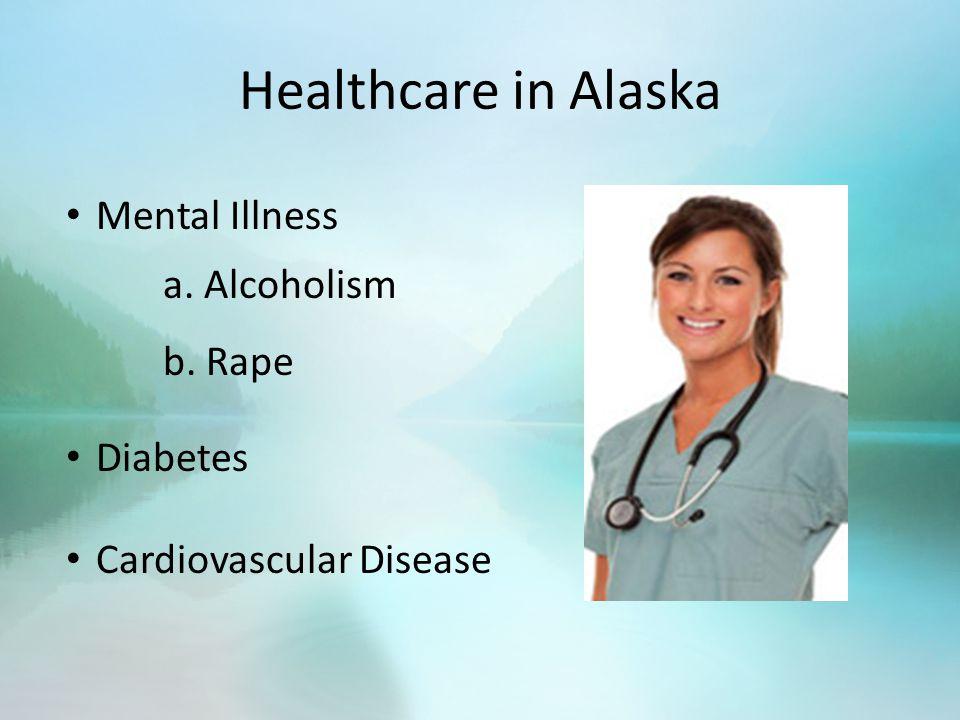 Healthcare in Alaska Mental Illness a. Alcoholism b. Rape Diabetes Cardiovascular Disease